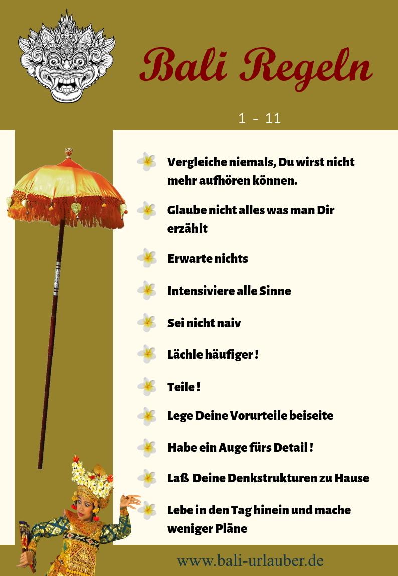 Bali Regeln 1 - 11