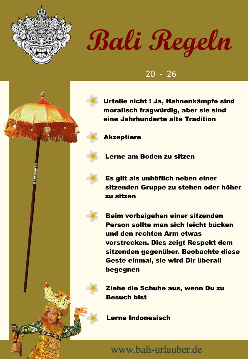 Bali Regeln 20 - 26