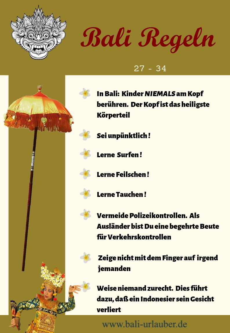 Bali Regeln 27 - 34
