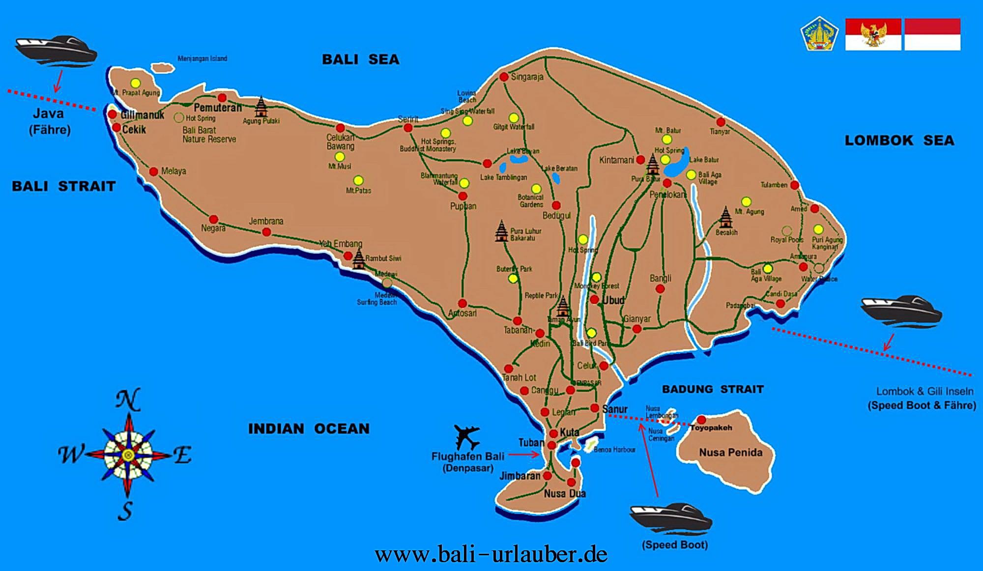 map bali urlauber a